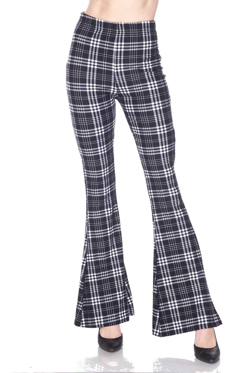 Front side image of Buttery Soft Traditional Black and White Plaid Bell Bottom Leggings showcasing a versatile monochrome plaid design