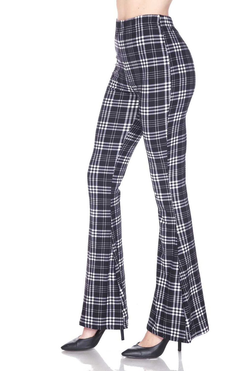 Left side image of Buttery Soft Traditional Black and White Plaid Bell Bottom Leggings