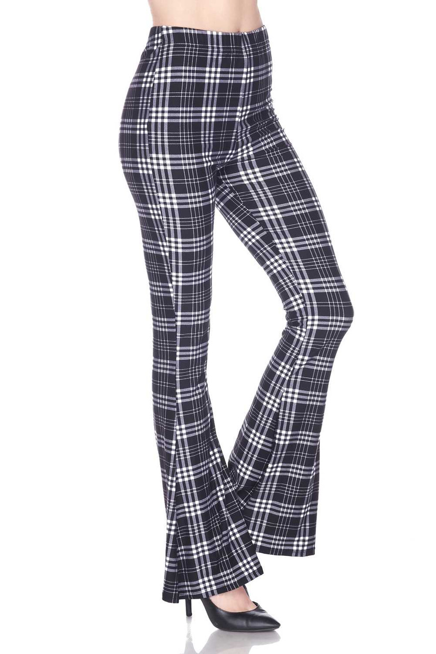 Right side image of Buttery Soft Traditional Black and White Plaid Bell Bottom Leggings
