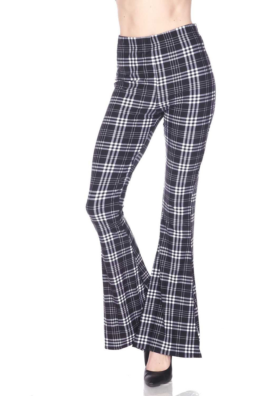 Front view of Buttery Soft Traditional Black and White Plaid Bell Bottom Leggings