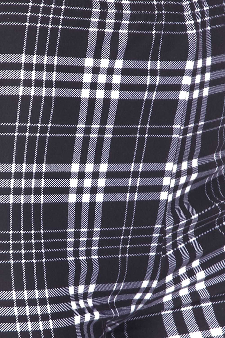 Close-Up fabric swatch of Buttery Soft Traditional Black and White Plaid Bell Bottom Leggings