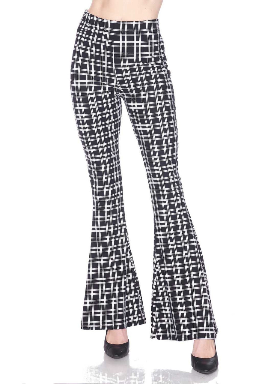 Front view of Buttery Soft Simple Squared Plaid Bell Bottom Leggings with a versatile black and white design.