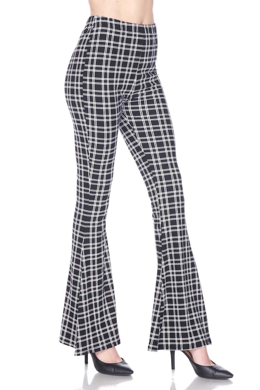 Right side image of Buttery Soft Simple Squared Plaid Bell Bottom Leggings