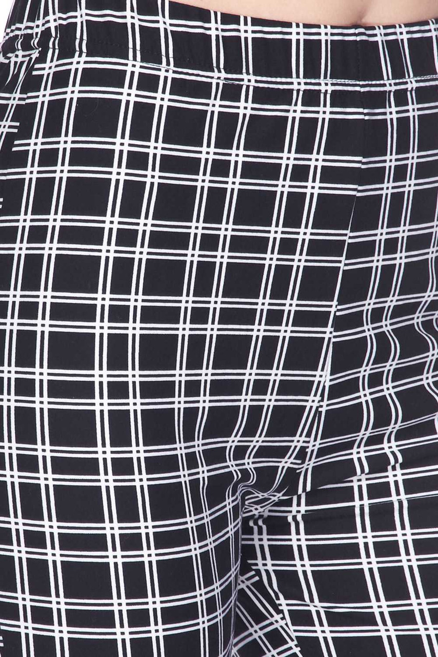 Close-Up fabric swatch of Buttery Soft Simple Squared Plaid Bell Bottom Leggings