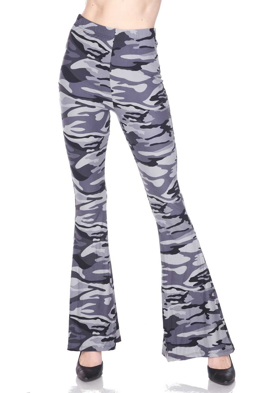 Front image of Buttery Soft Charcoal Camouflage Bell Bottom Leggings with a neutral monochrome camo design.