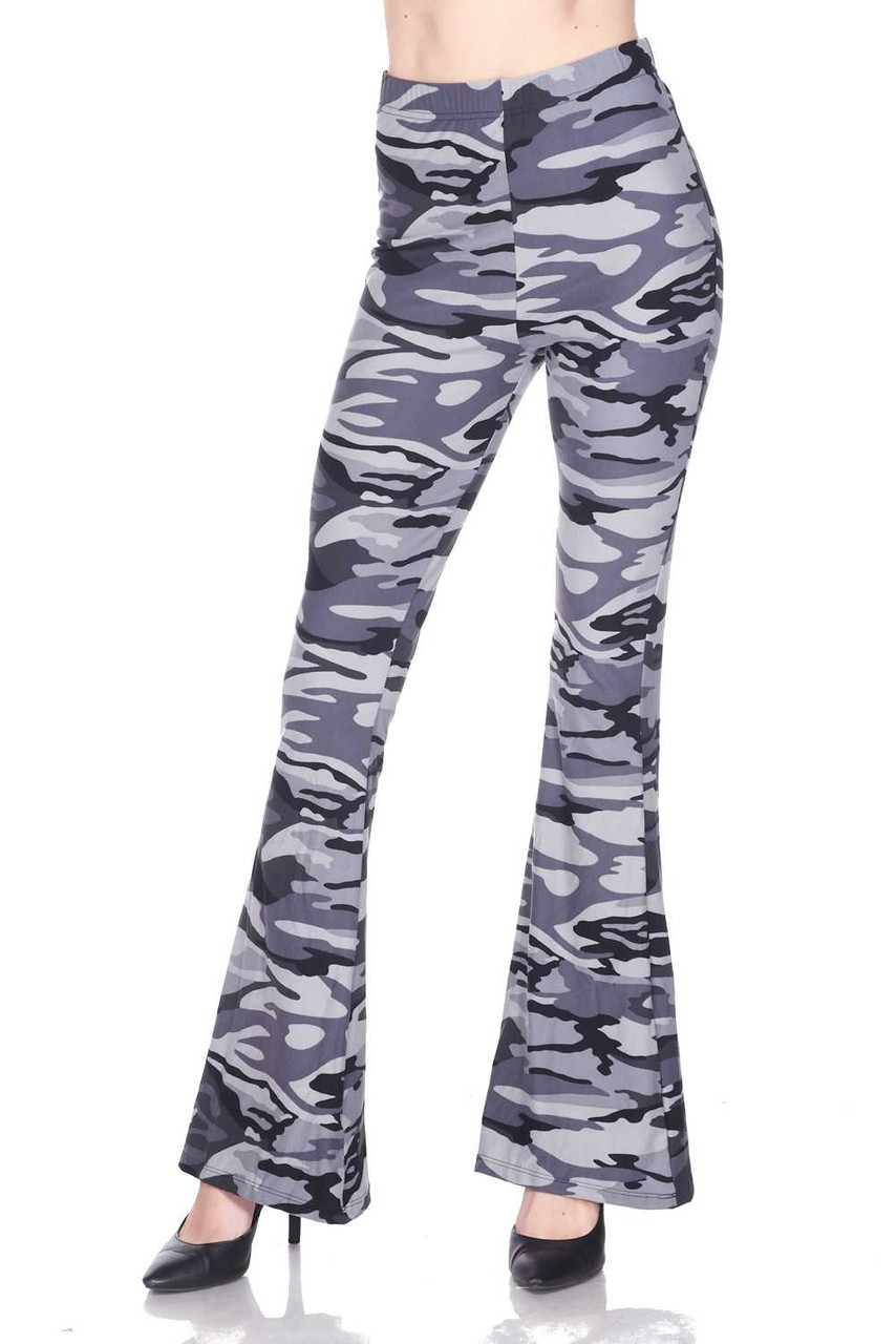 Front image of Buttery Soft Charcoal Camouflage Bell Bottom Leggings