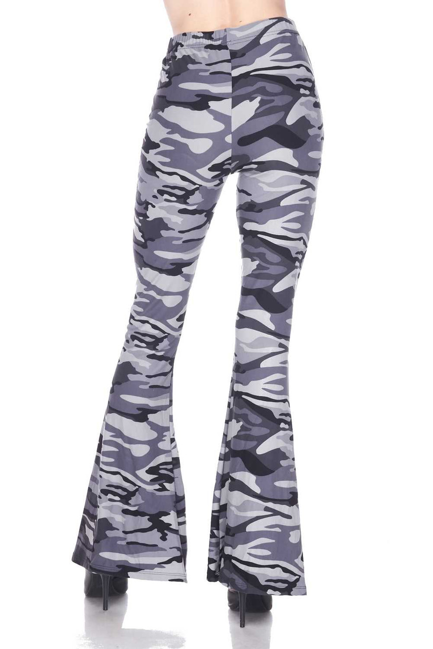 Back view of Buttery Soft Charcoal Camouflage Bell Bottom Leggings with a retro flared leg cut
