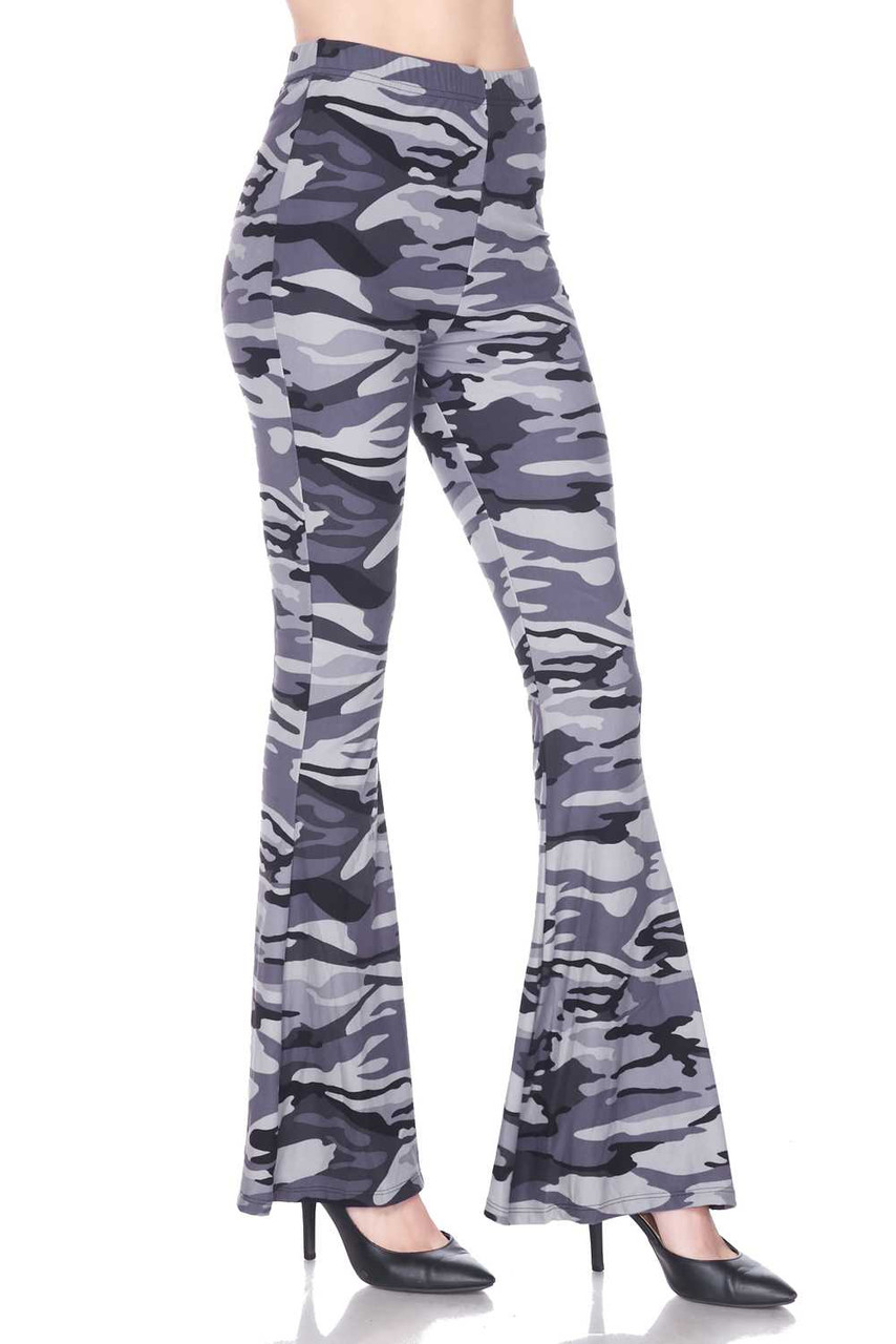 Right side of Buttery Soft Charcoal Camouflage Bell Bottom Leggings