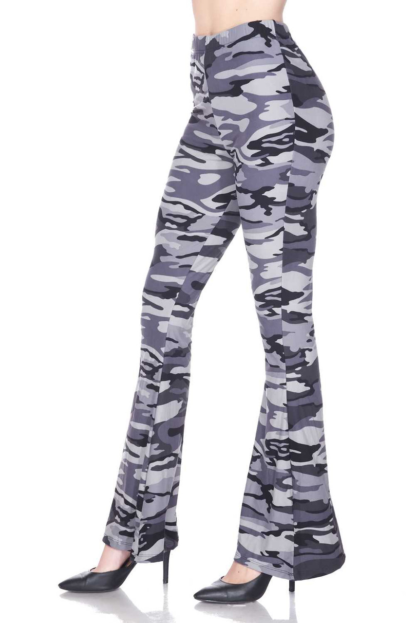 Left side of Buttery Soft Charcoal Camouflage Bell Bottom Leggings