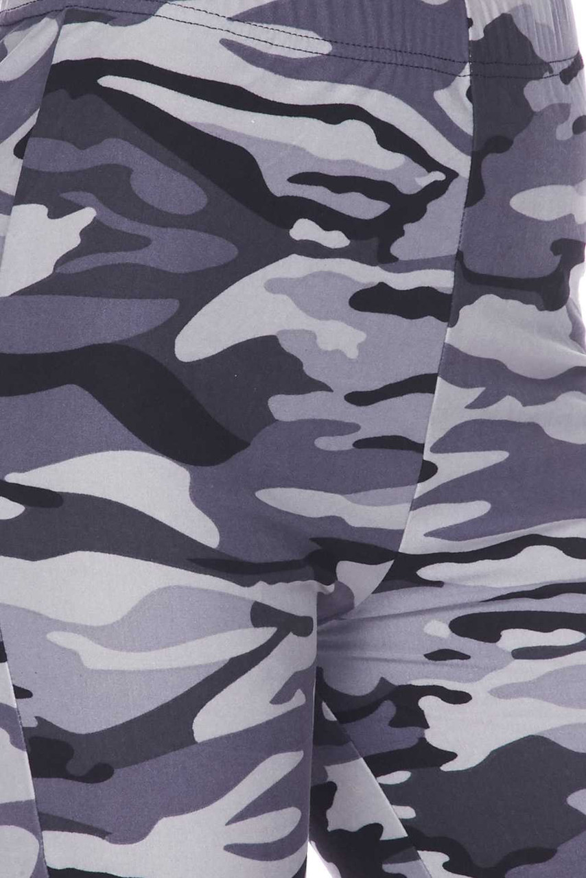 Close-up fabric swatch of Buttery Soft Charcoal Camouflage Bell Bottom Leggings