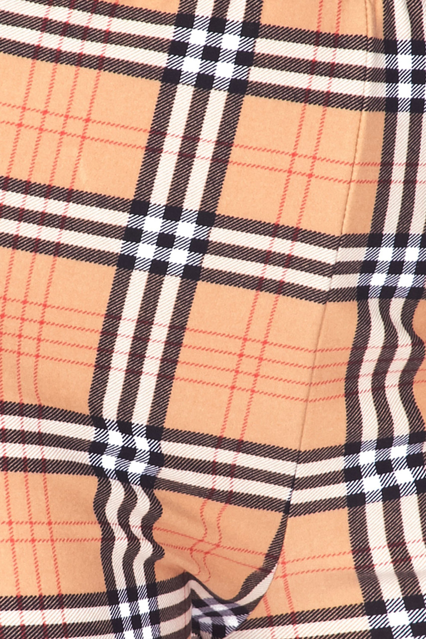 Close-up fabric swatch of Buttery Soft Carmel Plaid Bell Bottom Leggings