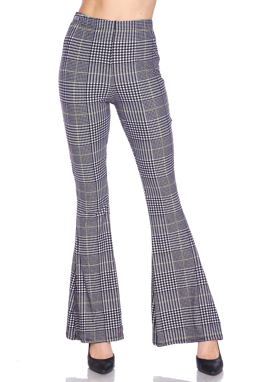 Front side image of Buttery Soft Sunshine Plaid Bell Bottom Leggings with a classic black, white, and yellow accented plaid design.