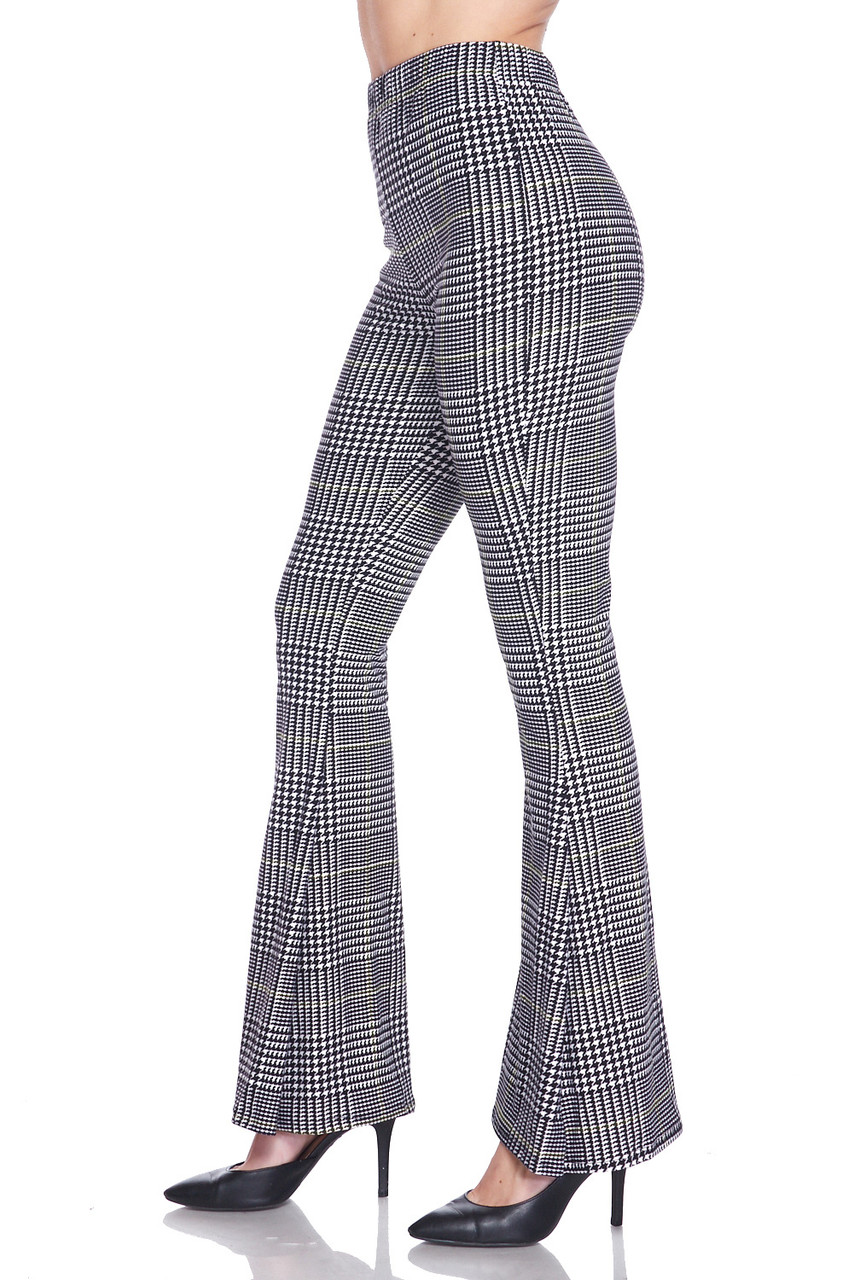 Left side view of Buttery Soft Sunshine Plaid Bell Bottom Leggings with a cool retro flared leg cut.