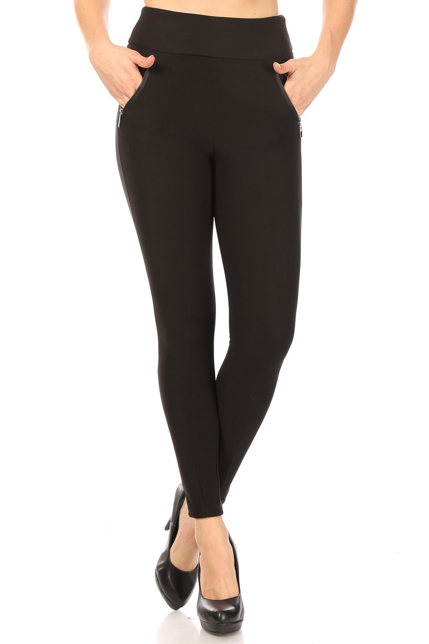Front view of Black High Waisted Treggings with Zipper Pockets with a sleek solid toned look.