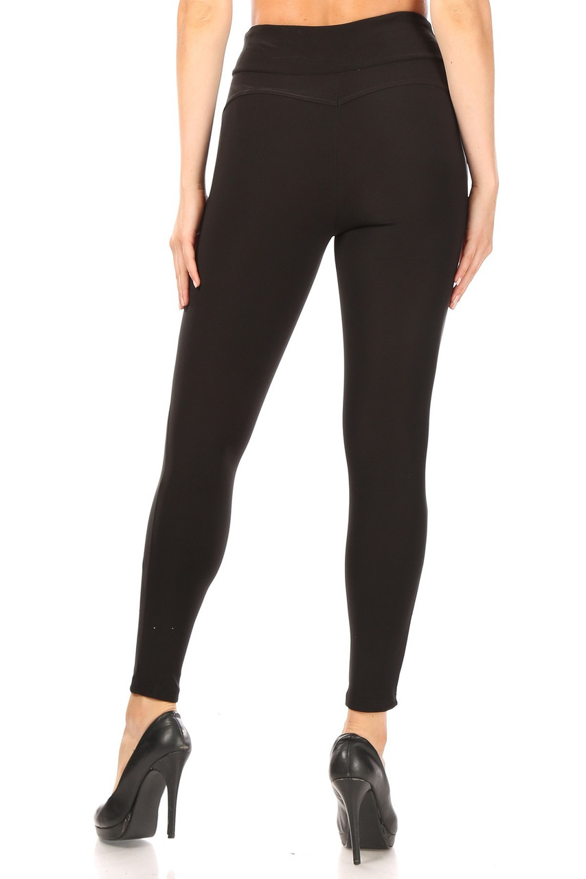 Rear view of Black High Waisted Treggings with Zipper Pockets showing off the flatterng skinny leg fit.