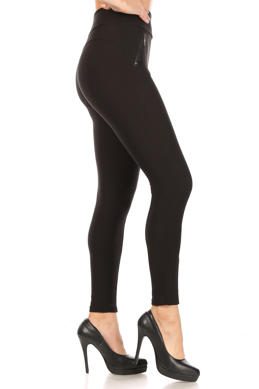 Left side of Black High Waisted Treggings with Zipper Pockets