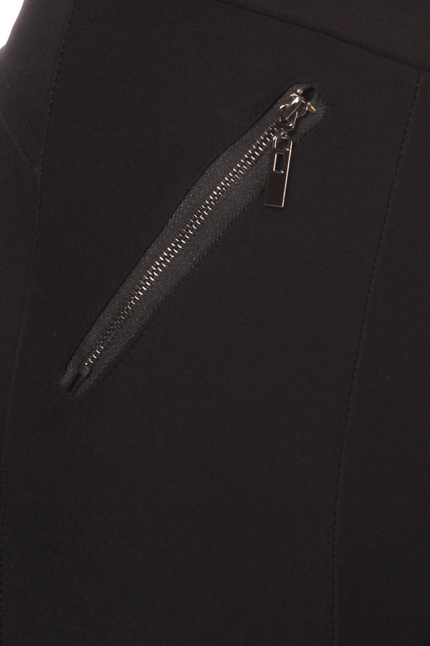 Close up of zipper on Black High Waisted Treggings with Zipper Pockets