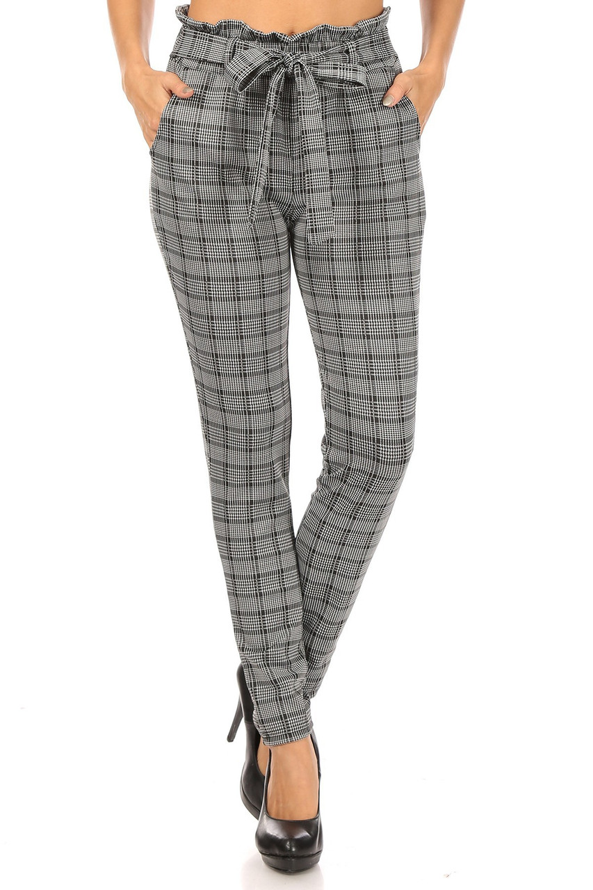 Front view of Glen Plaid High Waisted Paper Bag Tie Front Pants with a versatile black and white design perfect for any season.