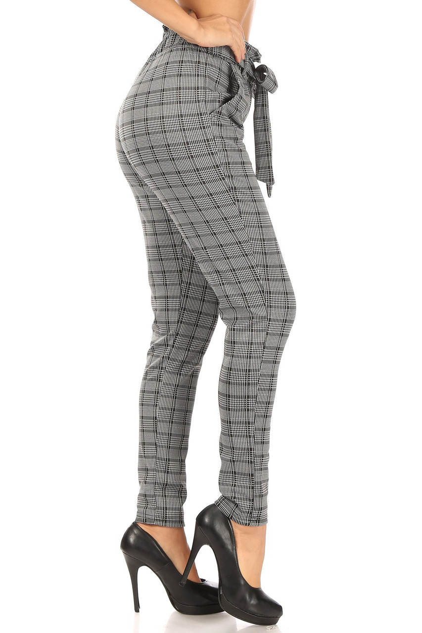 Right side of Glen Plaid High Waisted Paper Bag Tie Front Pants