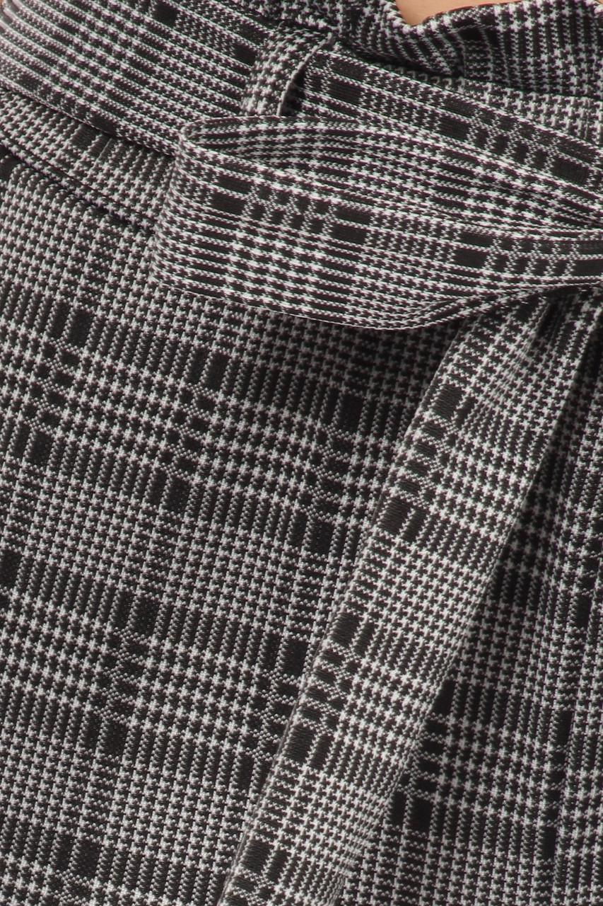 Close-up image Glen Plaid High Waisted Paper Bag Tie Front Pants