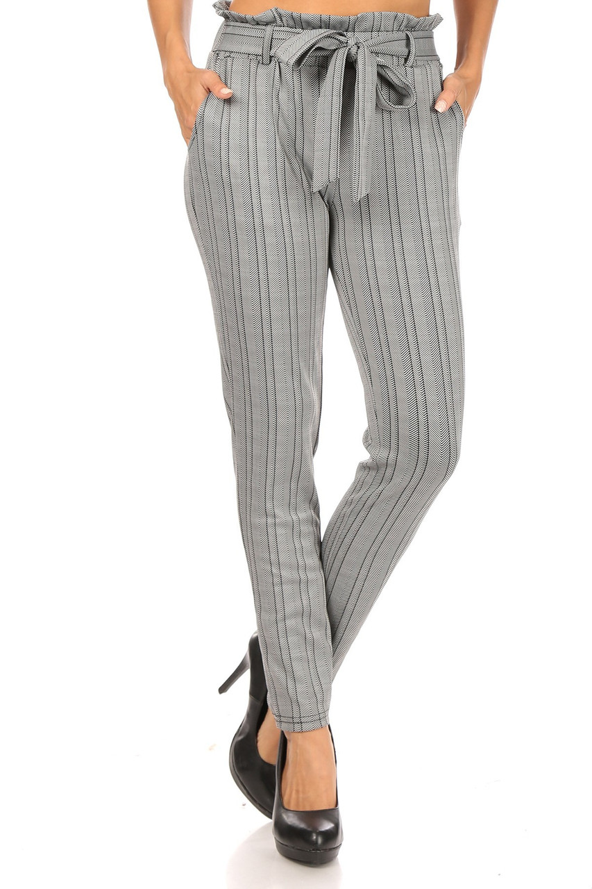 Front view of Striped Chevron High Waisted Paper Bag Tie Front Pants with a fabulous and flattering vertical striped chevron design.