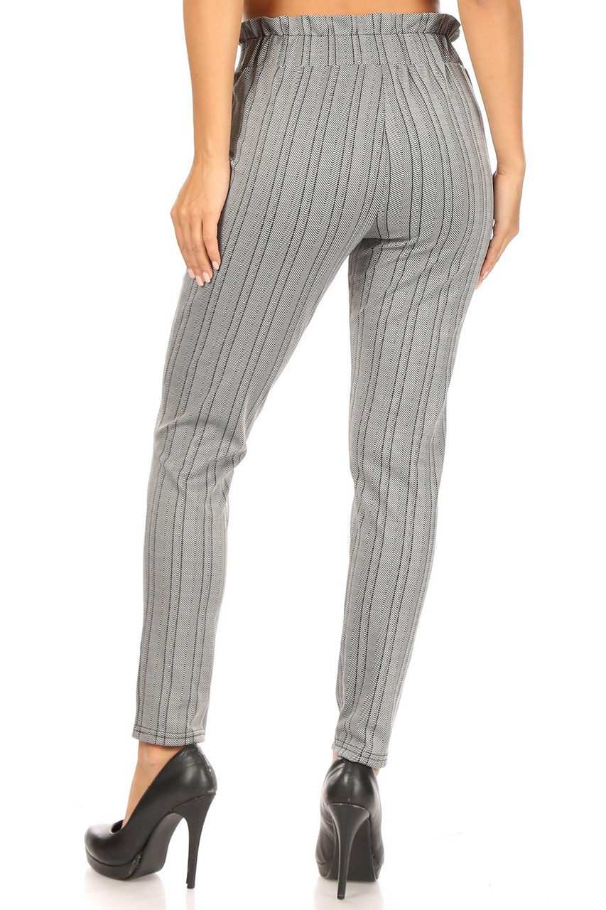 Rear view image of Striped Chevron High Waisted Paper Bag Tie Front Pants
