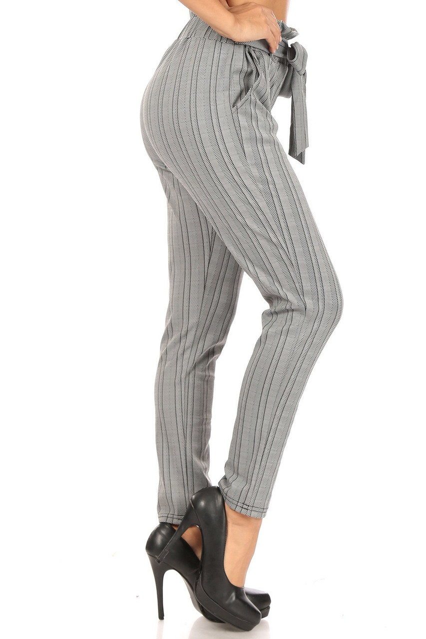 Right side image of Striped Chevron High Waisted Paper Bag Tie Front Pants