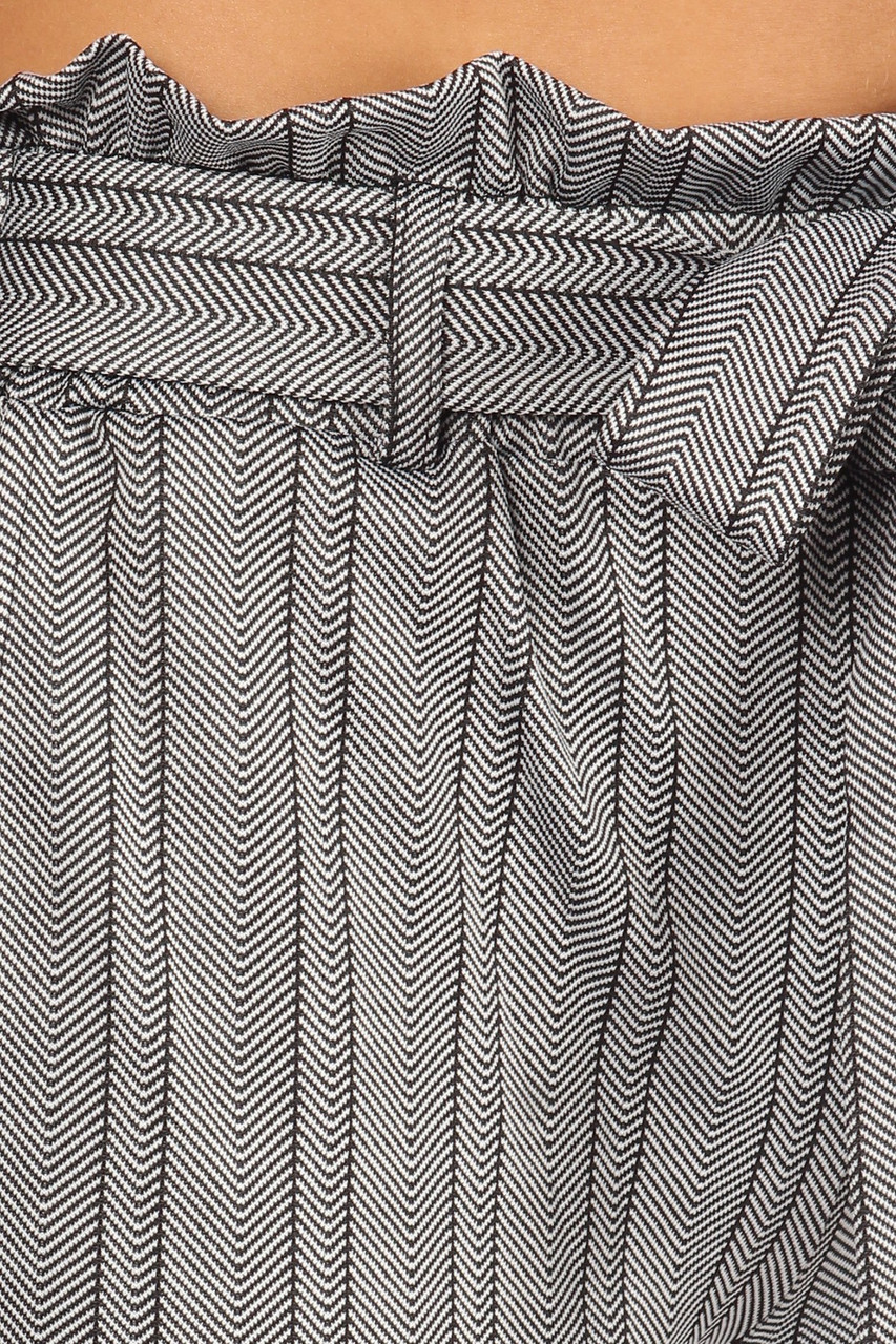 Close-up of Striped Chevron High Waisted Paper Bag Tie Front Pants