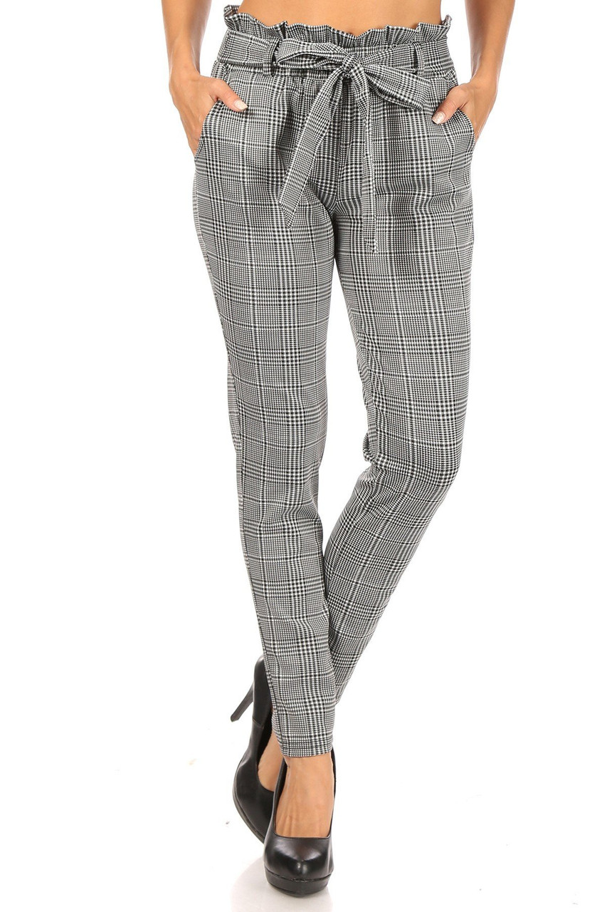 Front view of Houndstooth Plaid High Waisted Paper Bag Tie Front Pants with a neutral black and white color scheme and a bow tie sack waist detail.