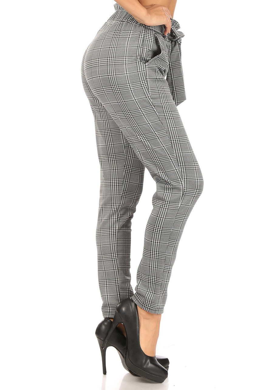 Right side of Houndstooth Plaid High Waisted Paper Bag Tie Front Pants