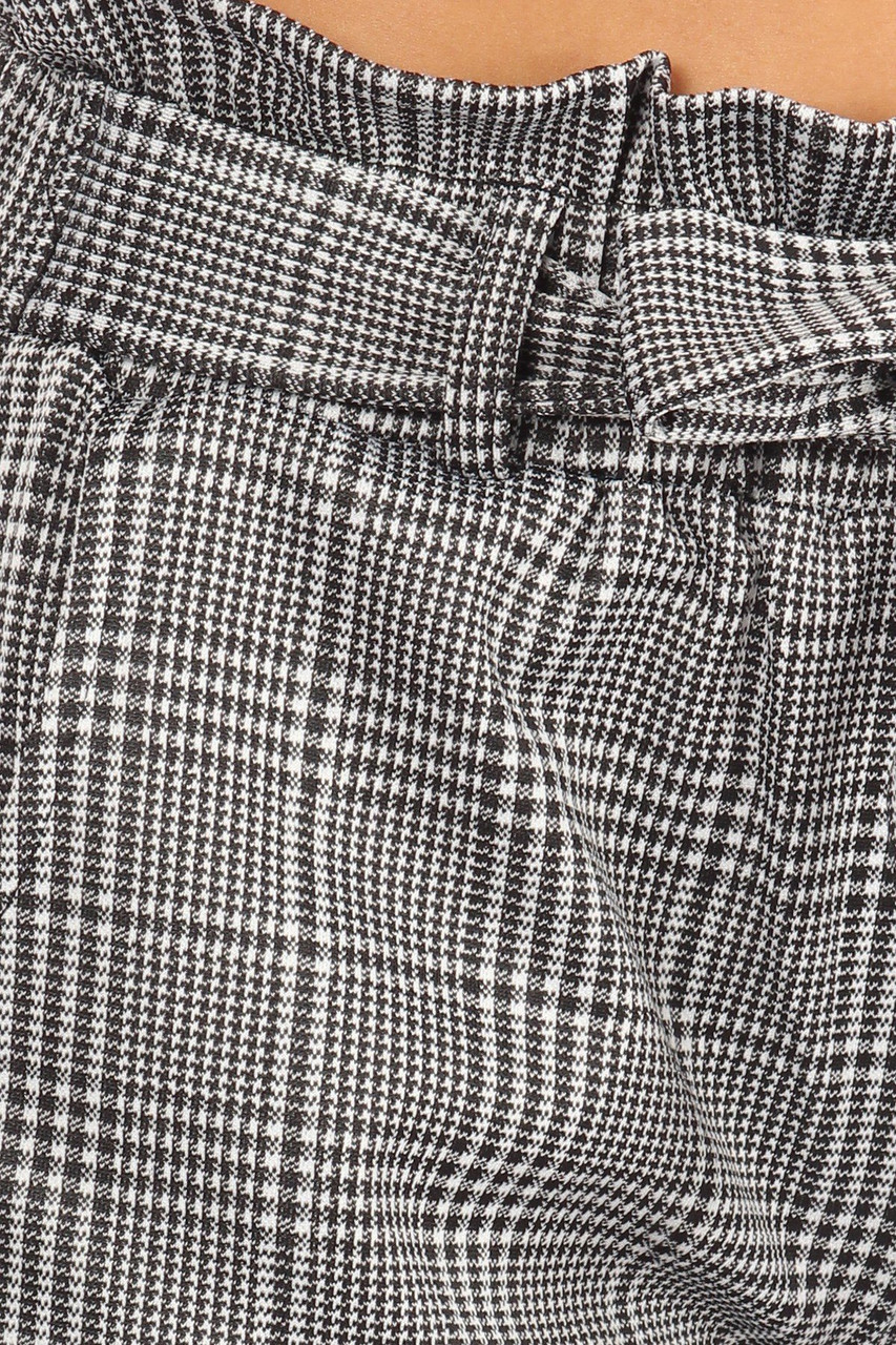 Close-up image of Houndstooth Plaid High Waisted Paper Bag Tie Front Pants