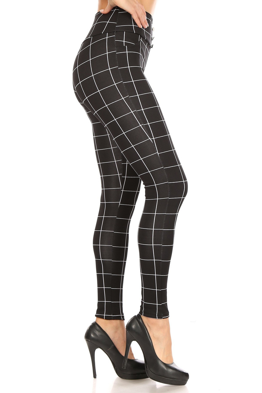 Right side of Black and White Grid Print High Waisted Treggings with Button Front
