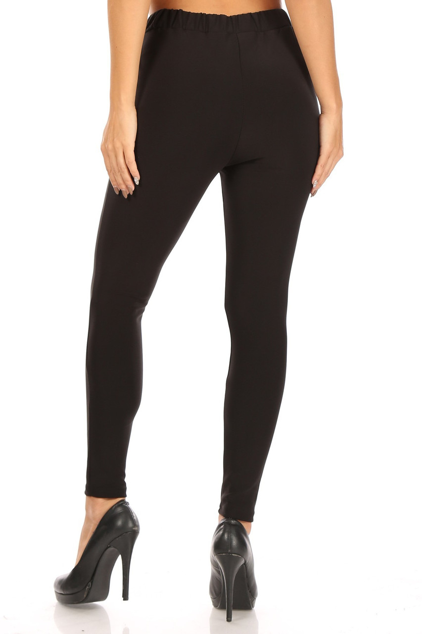 Rear view image of Black Scuba High Waisted Treggings with Tie Front showing off a skinny leg fit.