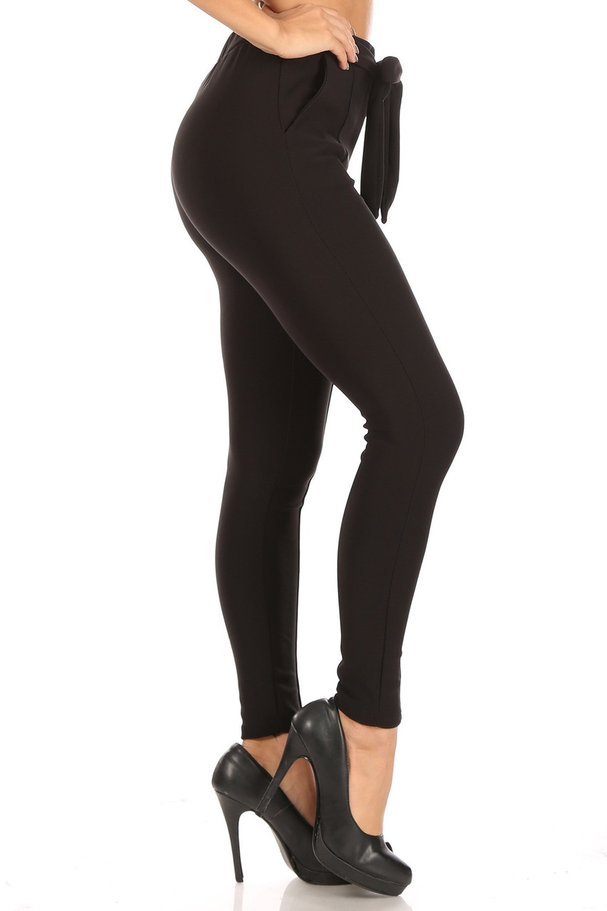Right side of Black Scuba High Waisted Treggings with Tie Front