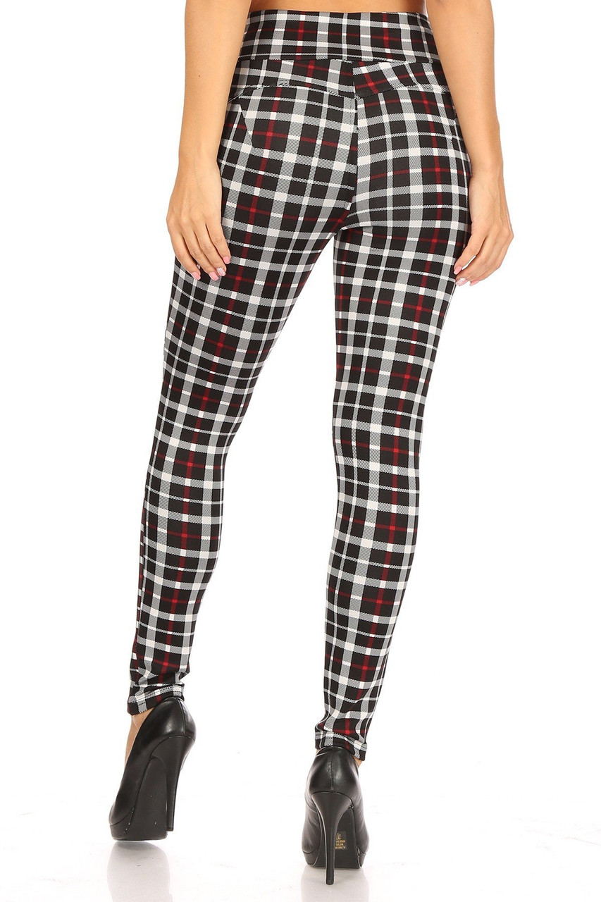 Read view of skinny leg fit Red Accent Plaid High Waisted Body Sculpting Treggings with Pockets
