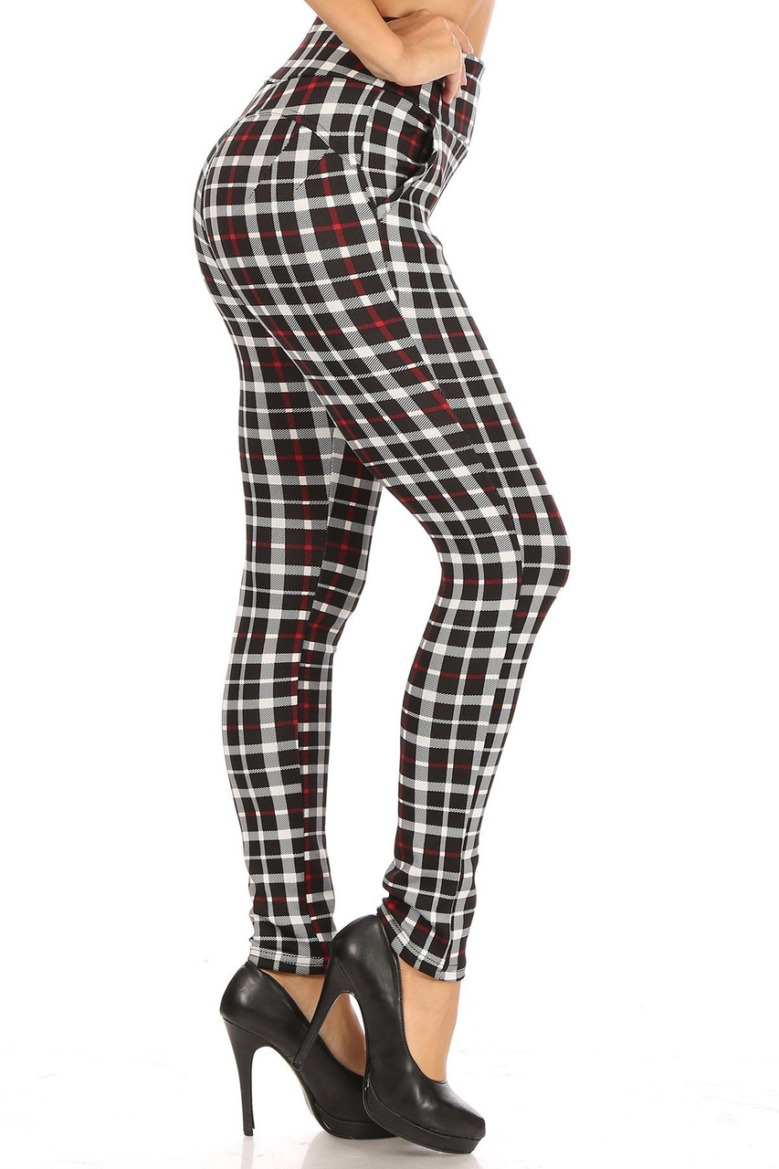 Right side of Red Accent Plaid High Waisted Body Sculpting Treggings with Pockets