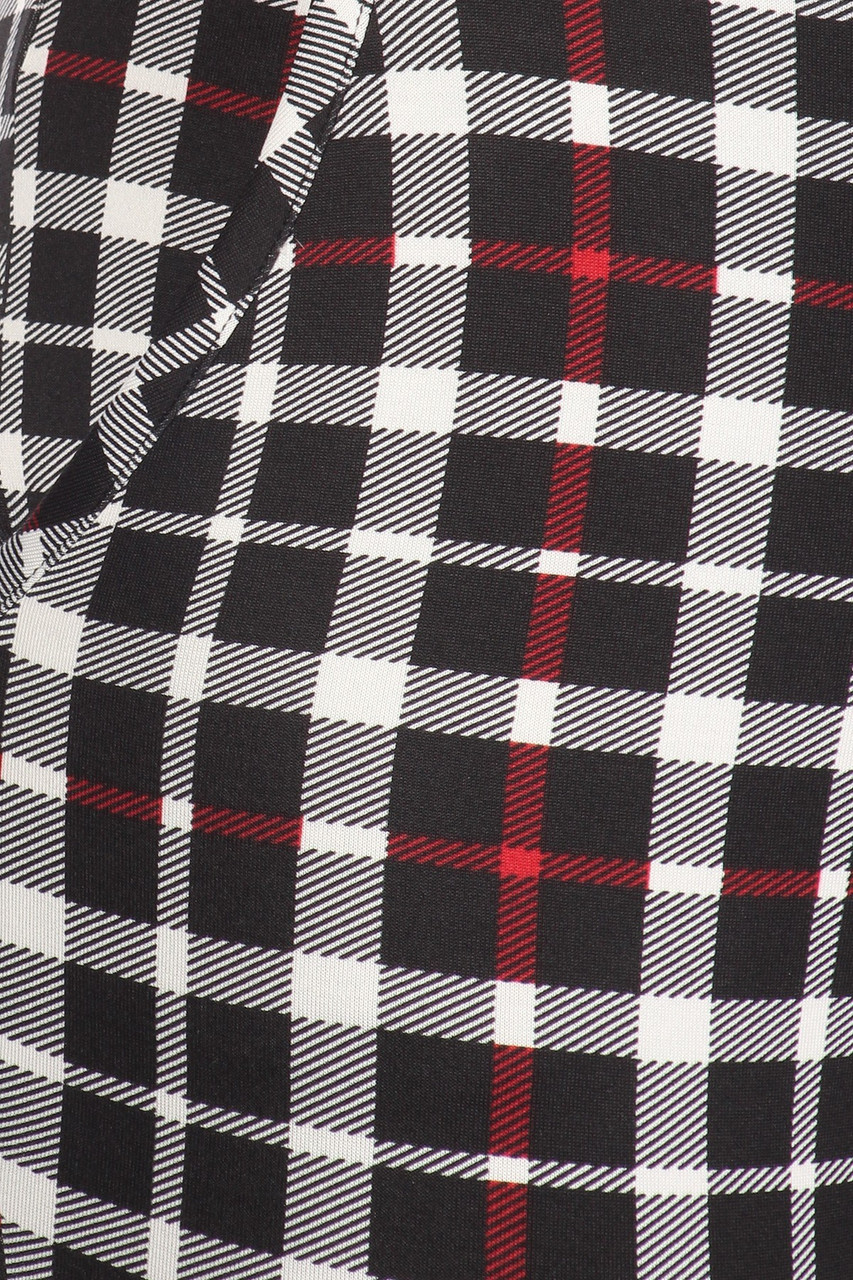 Close-up pocket and fabric image of Red Accent Plaid High Waisted Body Sculpting Treggings with Pockets
