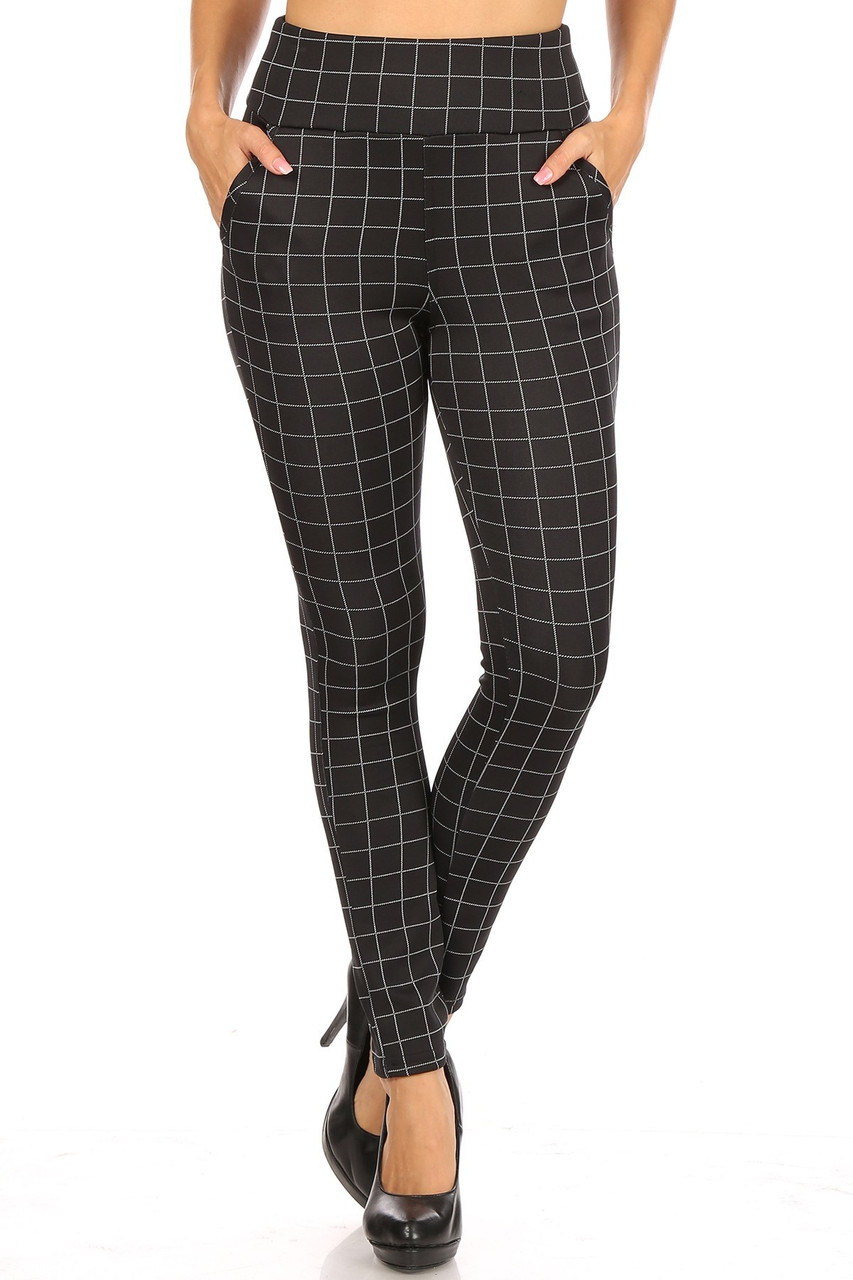 Front view of Black and White Grid Print High Waisted Body Sculpting Treggings with Pockets featuring a versatile white on black square design.