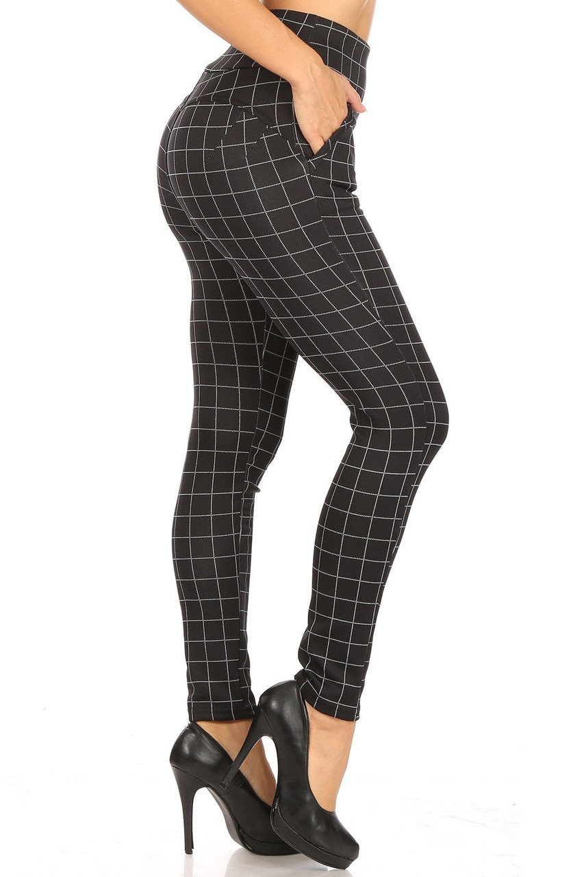 Right side image of Black and White Grid Print High Waisted Body Sculpting Treggings with Pockets