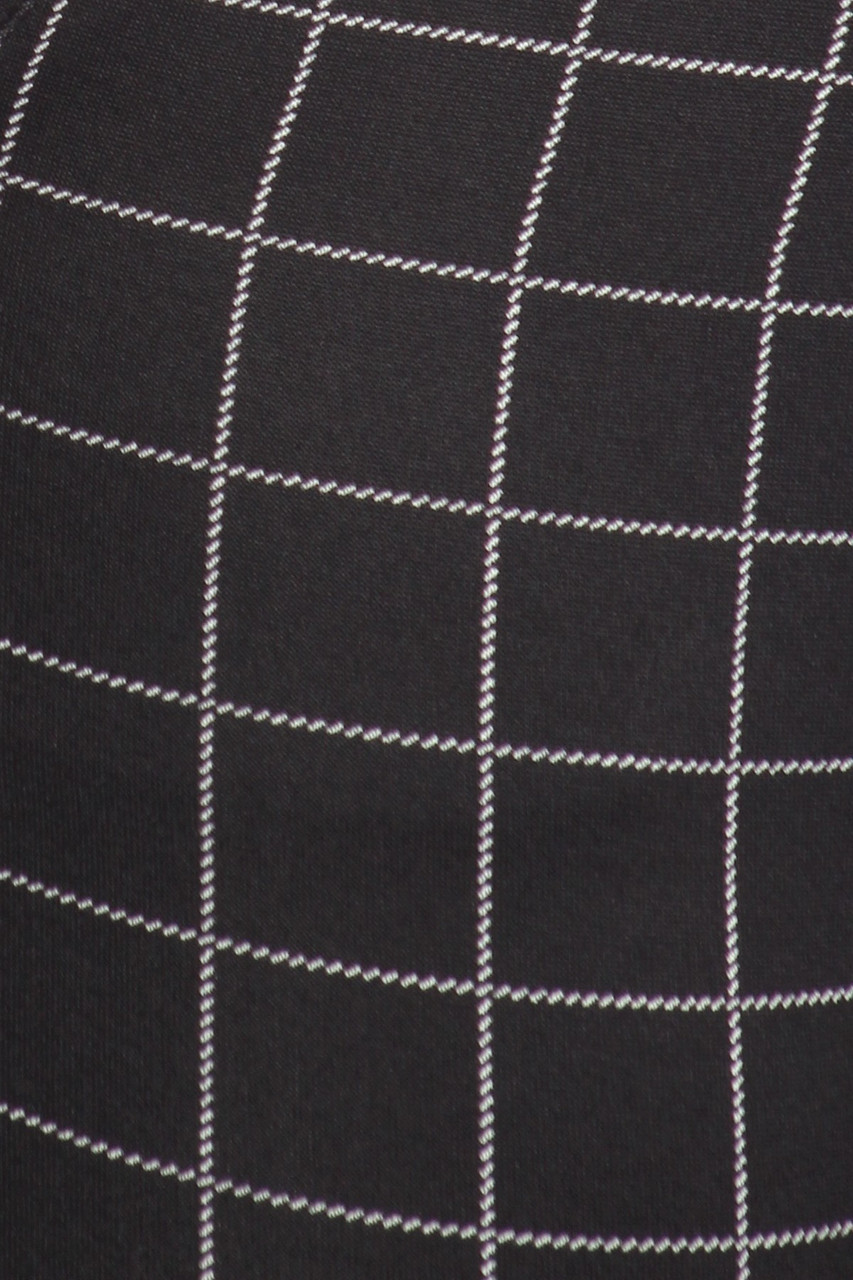 Close up fabric swatch of Black and White Grid Print High Waisted Body Sculpting Treggings with Pockets