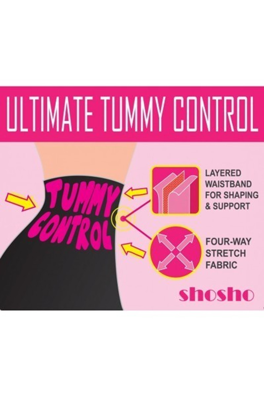 Illustration of tummy control abilities of Black and White Grid Print High Waisted Body Sculpting Treggings with Pockets