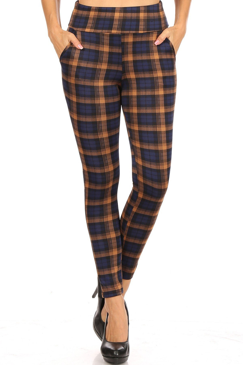 Front image view of Navy Plaid High Waisted Body Sculpting Treggings with Pockets with an all over deep blue and light brown plaid design.