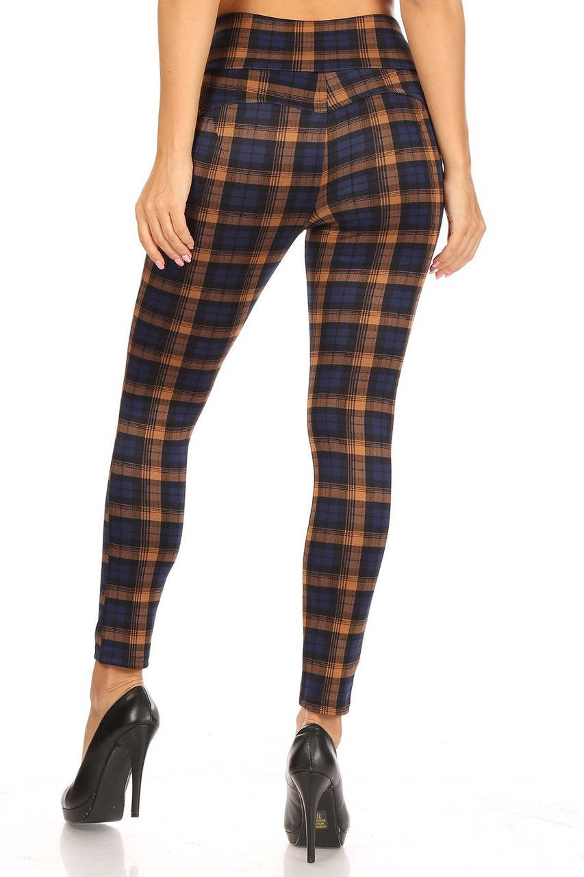 Back side image of Navy Plaid High Waisted Body Sculpting Treggings with Pockets showing off the sleek skinny leg fit