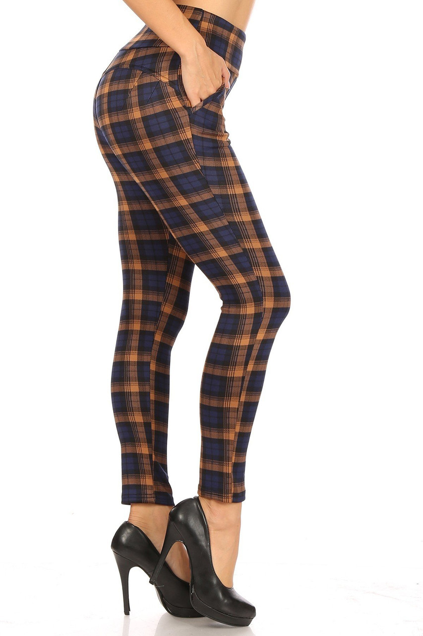Right side Navy Plaid High Waisted Body Sculpting Treggings with Pockets
