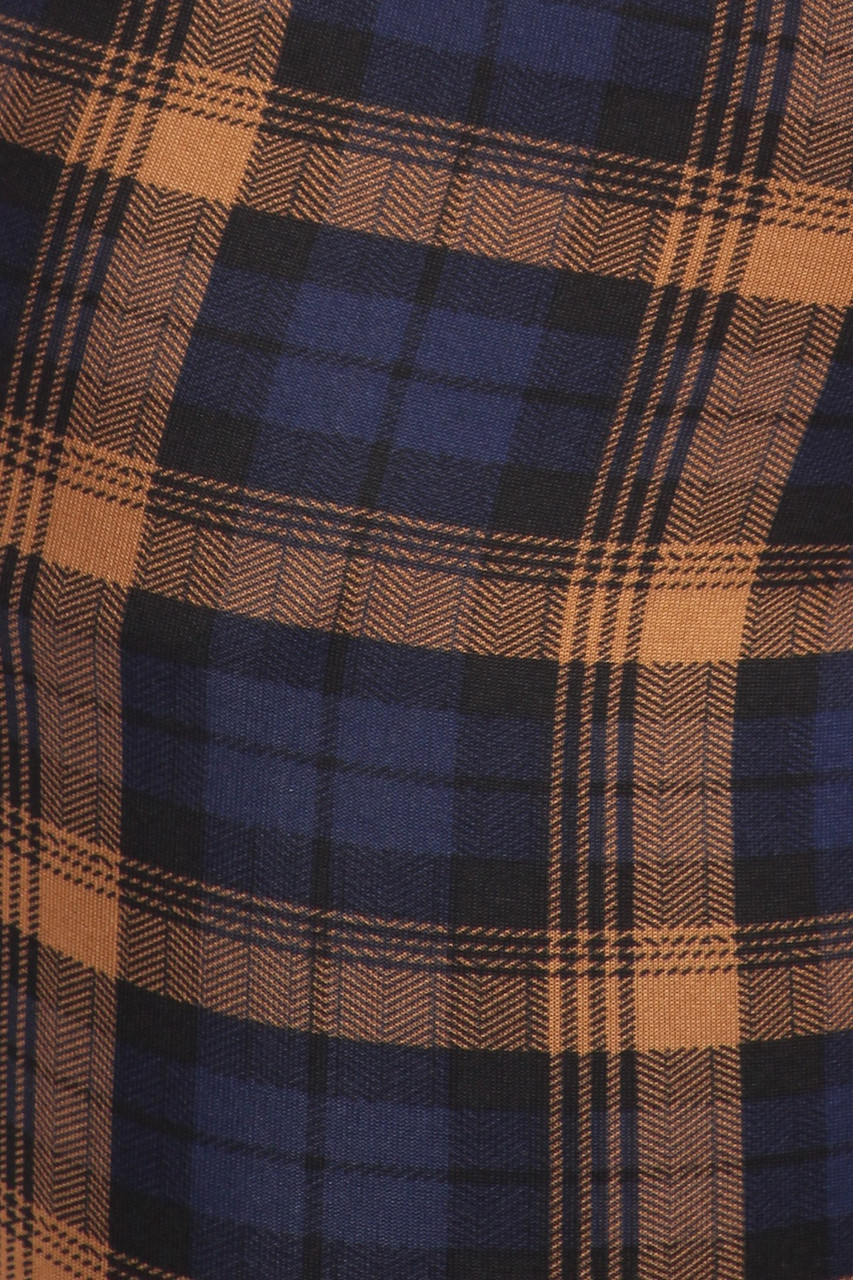 Close up fabric swatch of Navy Plaid High Waisted Body Sculpting Treggings with Pockets