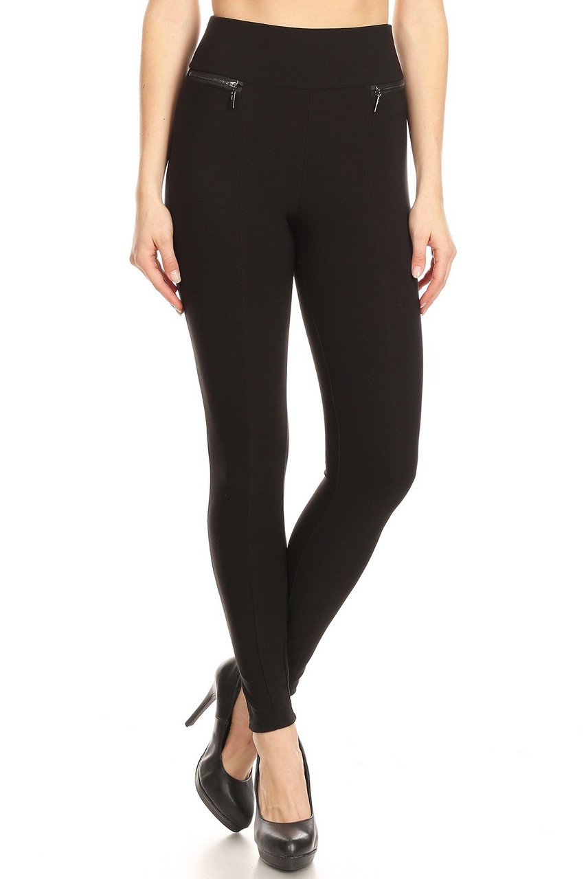 Front of Black High Waisted Body Sculpting Treggings with Zipper Pockets with a versatile solid toned design.