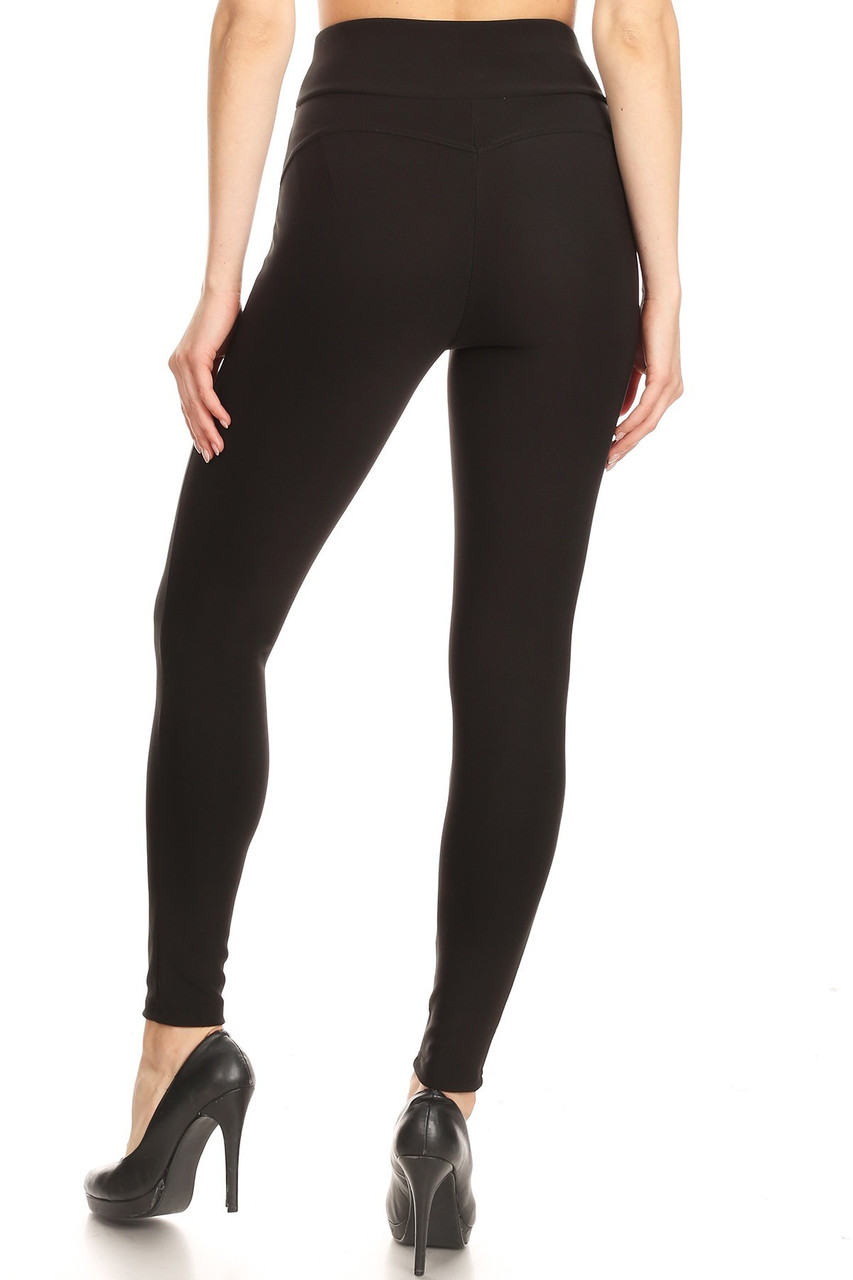 Back side image of Black High Waisted Body Sculpting Treggings with Zipper Pockets with a flattering skinny leg fit.