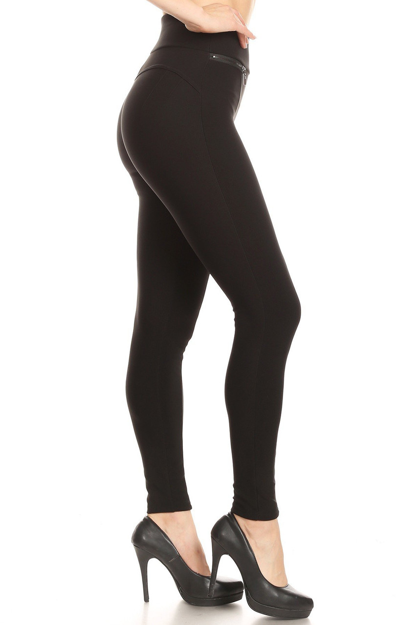 Right side image of Black High Waisted Body Sculpting Treggings with Zipper Pockets