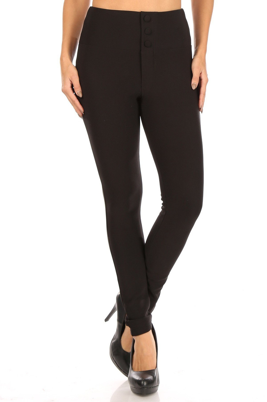Front view of Black Button Front High Waisted Body Sculpting Treggings with a chic sleek solid toned look.