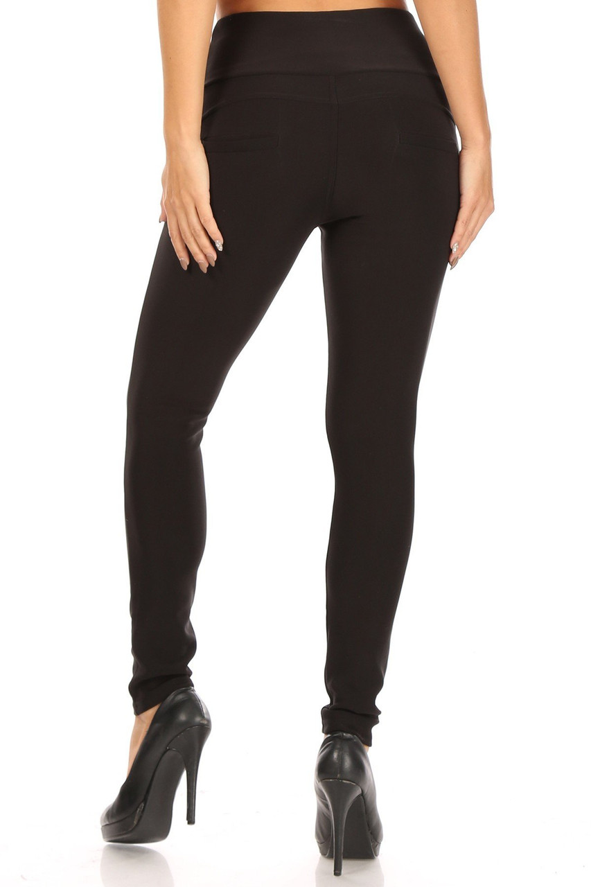 Rear view of Black Button Front High Waisted Body Sculpting Treggings with a skinny leg fit.